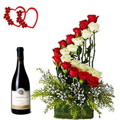Send Wine To Bangalore With Cake Flower Chocolate Combo