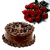 Fresh 10 Red Roses n Chocolate Cake