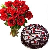 Red Roses with Cake To Bangalore