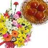 Gulab Jamuns with Exotic Flowers Bouquet