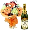 Champagne Gift with Fresh Flowers