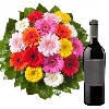Colourful Gerberas with Wine Treat