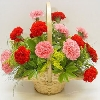 24 Red and Pink Carnations in a Round Basket