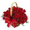 50 Red Roses in a Basket