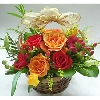 12 Red and Orange Roses Basket
