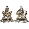 Silver Lakshmi Ganesha Medium Idol