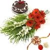 Rakhi Flowers with Eggless Cake