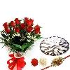 Rakhi Roses with 1kg Kaju Katli