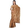 Dabu Print Brown Saree