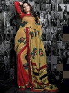 Fabulous Beige Shimmer Brasso Sarees