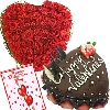 Roses Heart N Cake For Your Valentine