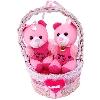 Cheerful Teddies in a Basket